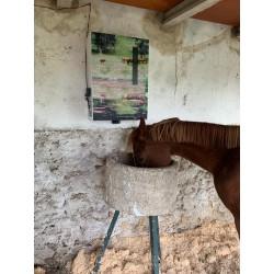 Comedero para caballos de montaje sencillo y económico.