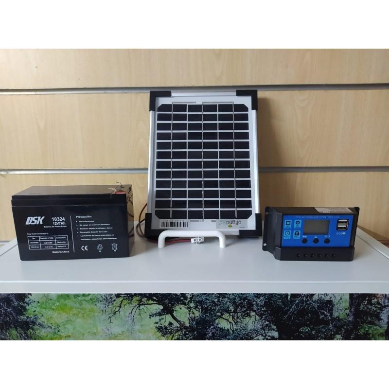 Kit solar como suministro eléctrico para los comederos automáticos para caballos en los que no hay corriente eléctrica.